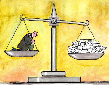 Scale balanced by businessman and bills
