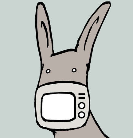 Television screen covering donkey's mouth
