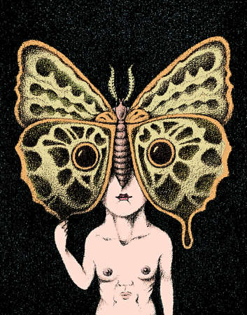 Face on chest of man with butterfly covering head