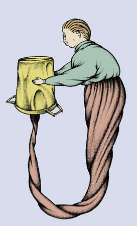 Man holding upside-down bucket connected to twisted lower body