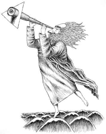 Illustration of Noah looking through telescope