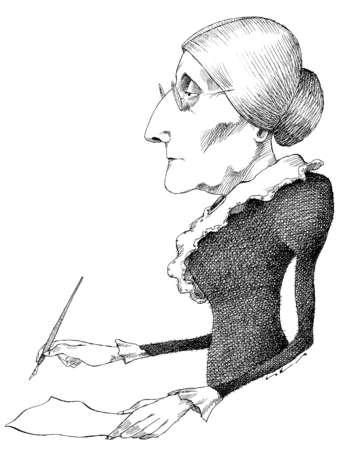 Illustration of Susan B. Anthony writing