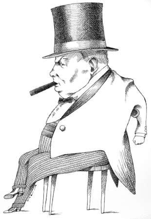 Illustration of Winston Churchill smoking cigar