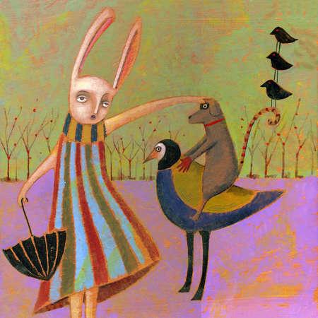 Anthropomorphic rabbit petting dog riding bird