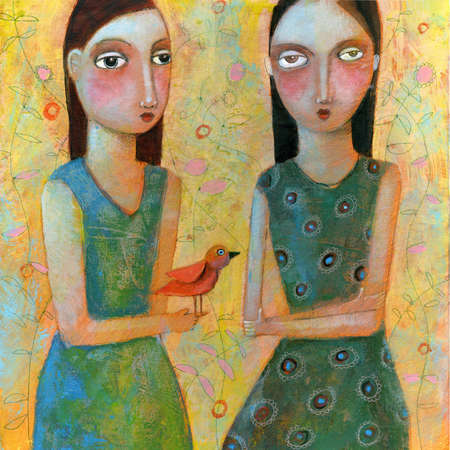 Woman giving red bird to woman with arm's crossed