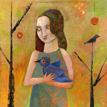 Woman holding bluebird