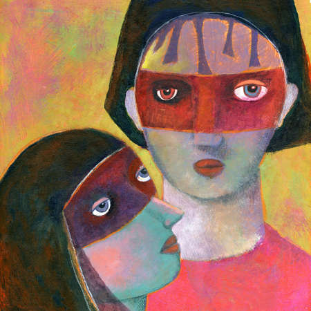 Couple with red masks covering eyes