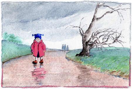 Girl walking on wet path