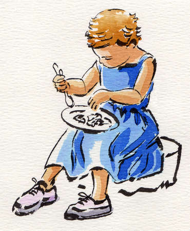 Girl eating with plate on lap