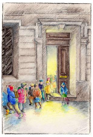 Children emerging from doorway