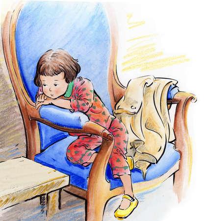 Sad child sitting in armchair