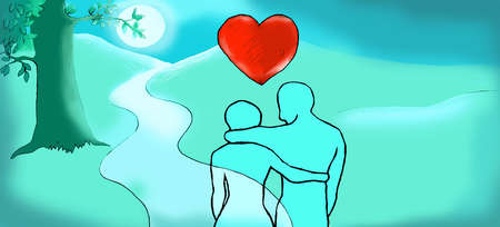 Heart above couple hugging on moonlit path