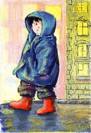 Boy in hooded jacket looking worried
