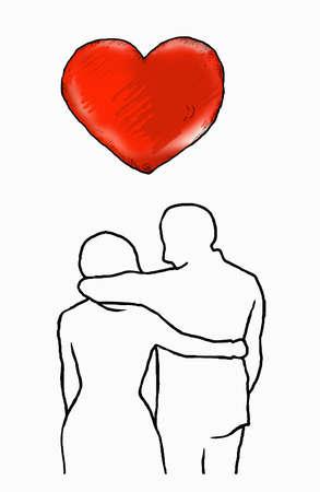 Couple hugging under heart
