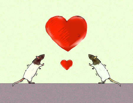 Two mice looking up at large heart over small heart