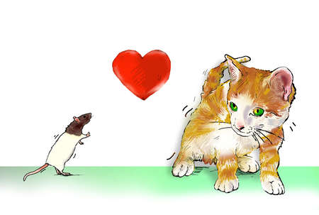 Heart between mouse and cat