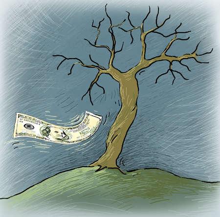 Wind blowing one hundred dollar bill under barren tree