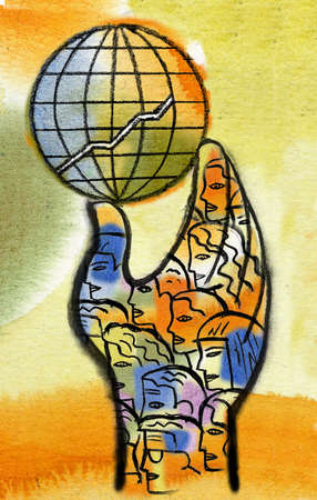 Faces covering hand holding globe with ascending graph