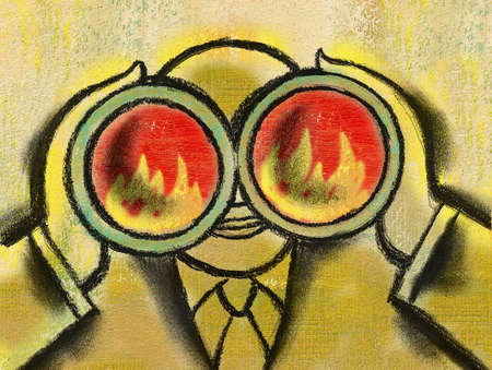 Businessman viewing fire through binoculars