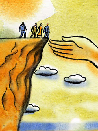 Large hand reaching out to business people at edge of cliff