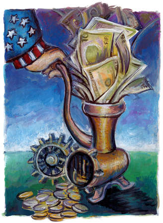 Uncle Sam reducing cash into coins through grinder