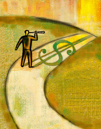 Businessman with telescope looking down path with dollar sign