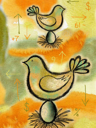 Arrows, numbers and money symbols surrounding birds on eggs