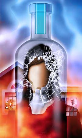 Illustration of faceless woman inside a shattered liquor bottle