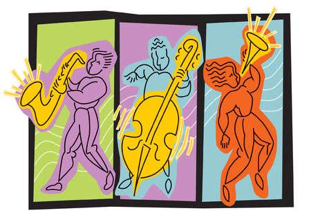 Illustration of men playing saxophone, bass, trumpet