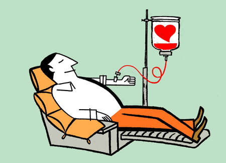 Man relaxing and receiving transfusion from blood bag with heart
