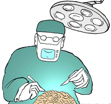 Surgeon wearing mask with monitor and operating on brain