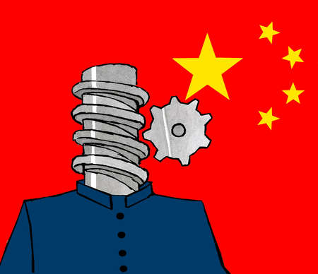 Man with cog head in front of Chinese flag