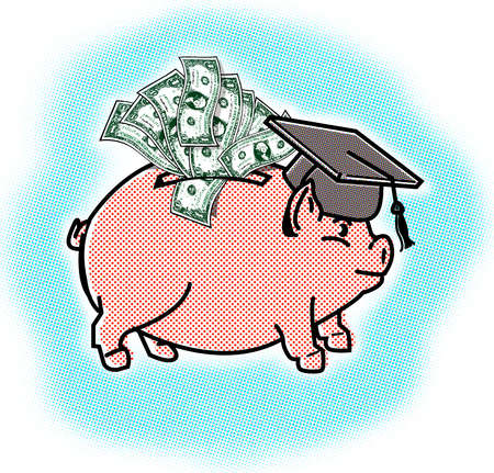 Piggy bank in graduation cap stuffed with money