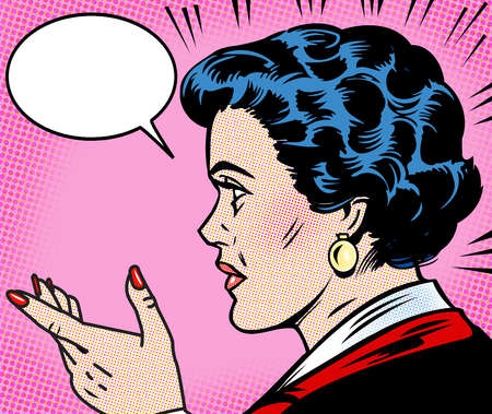Businesswoman gesturing with speech bubble