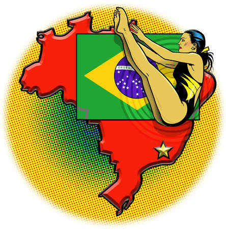 Female athlete, Brazilian flag and country outline