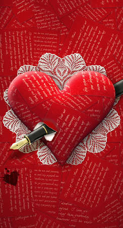 Illustration of heart made of love letters