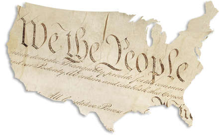Illustration of map of United States with opening words of the U.S. Constitution superimposed