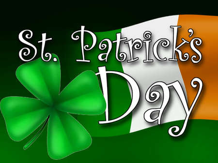 Irish flag, four-leaf clover with words 'St. Patrick's Day'