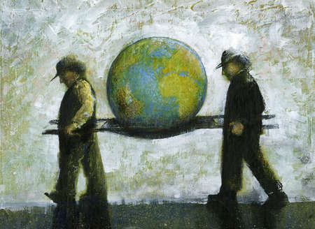 stock illustration men carrying earth on stretcher