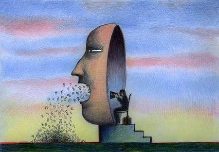 Person talking through large mask