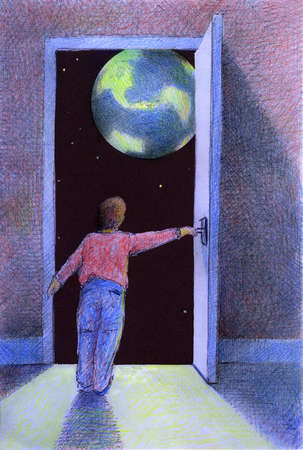 Boy opening door and viewing the earth