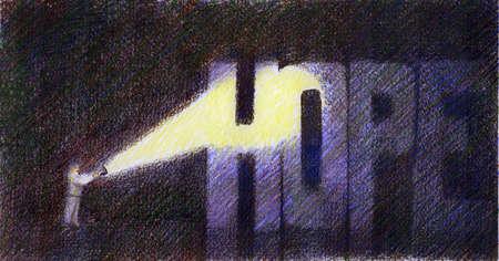 Man shining flashlight on word hope