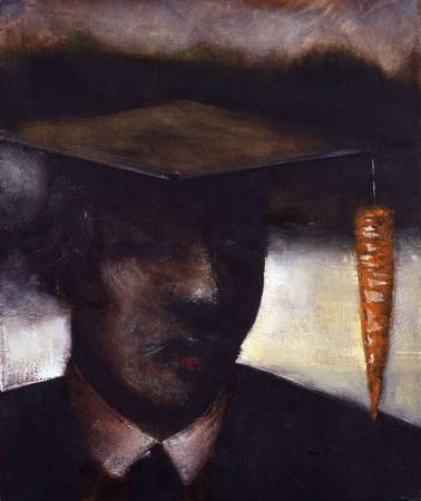 Man with graduation cap and carrot decoration