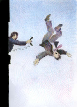 Businessman handing phone to co-worker falling in mid-air