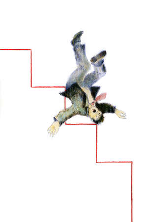 Businessman falling down stairs