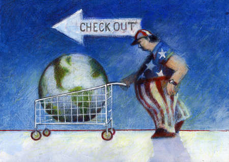 Man in American flag outfit pushing Earth in shopping cart