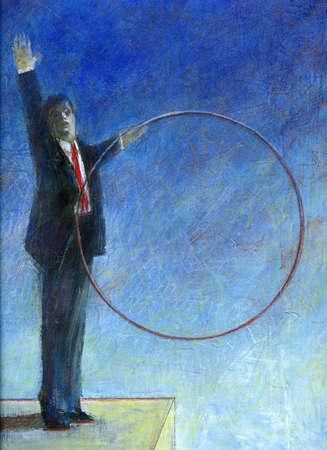 Businessman holding hoop