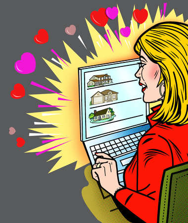 Woman looking a houses on laptop