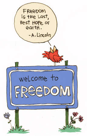 Illustration of a bird, perched on a 'Welcome to Freedom' sign