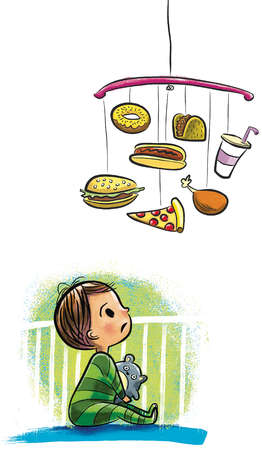 Illustration of a child in a crib looking up at a mobile made of junk food